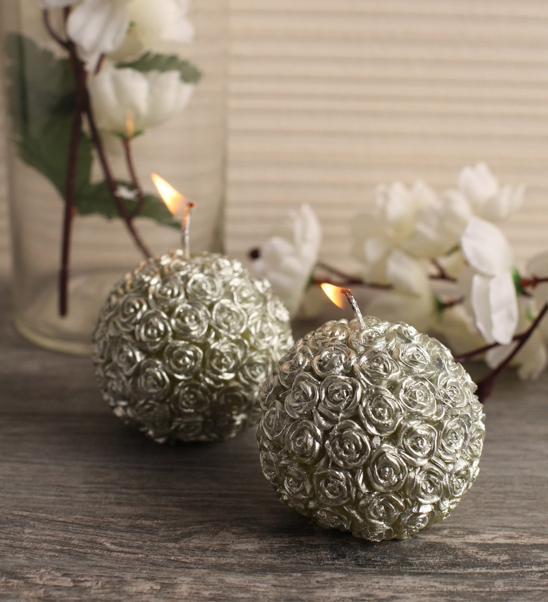 Festive Collection Silver Wax Rose Scented Candle - Set of 2