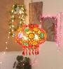 Festive Collection Multicolour Cloth Fancy Hanging Crystal Decorative Ball Festive Lantern