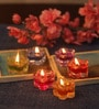 Multicolour Glass Fancy Flowers Candles - Set of 12 by Festive Collection