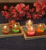 Multicolour Glass Fancy Pot Candle - Set of 6 by Festive Collection