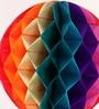 Festive Collection Multicolour Metallic Paper Folding Honeycomb Pom Decoration Balls - Set of 4