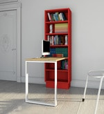 Fiamma Study Table with Open Shelf Rack - IV in Sappy Ebony & Red Colour