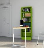 Fiamma Study Table with Open Shelf Rack in Urban Teak & Green Finish