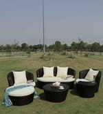 Five Seater Outdoor Sofa Set with Cushioned Ottoman & Center Table