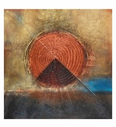 Canvas 32 X 32 Inch Spiral Triangle Abstract Unframed Handpainted Art Painting