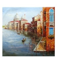 Canvas 32 X 36 Inch Venice Unframed Handpainted Art Painting - 1608337
