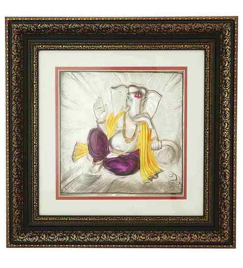 20a1f600ae6b Buy Finedor 24K Gold Leaf Frames Gold Silver Plated Ganpati Frame With LED  Online - Spiritual Accents - Spiritual Decor - Pepperfry