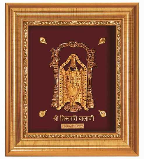 055abb9e8b01 Buy Finedor 24K Gold Leaf Frames Lord Balaji Golden Frame Online ...