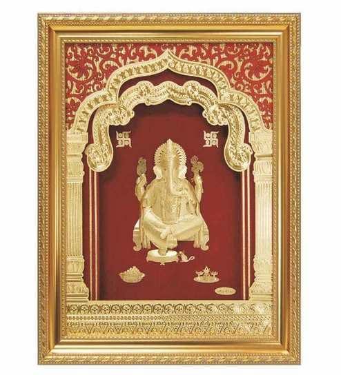 Buy Finedor 24k Gold Leaf Frames Lord Ganpati Golden Fancy Frame