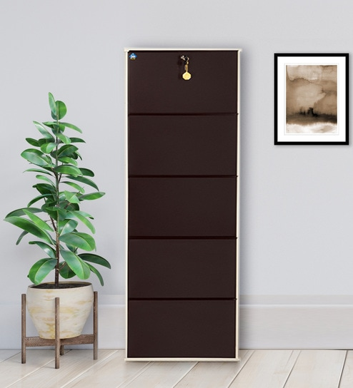 24 Inches Double Decker Two In One Shelf Five Door Shoe Rack Ivory Coffee Colour By Delite Kom Online Modern Metal Racks