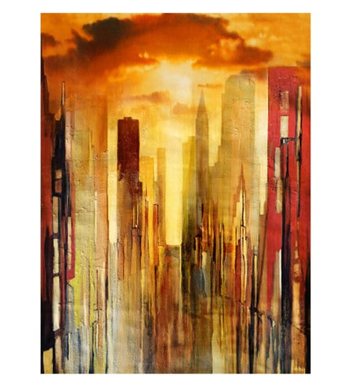 Canvas 18 X 24 Inch Abstract Unframed Handpainted Art Painting