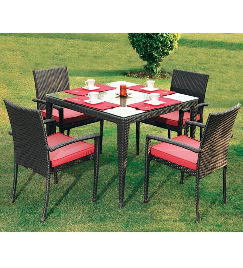 Fine Living Four Seater Compact Outdoor Dining Set by Loom Crafts