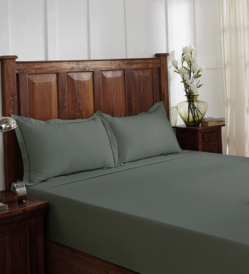 Grey 100% Cotton King Size Bedsheet - Set of 3 by Fisher West NY