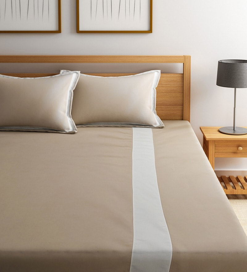 Beige and White Cotton Blend Easy Care Double Flange Bedsheet Set by Fisher West NY