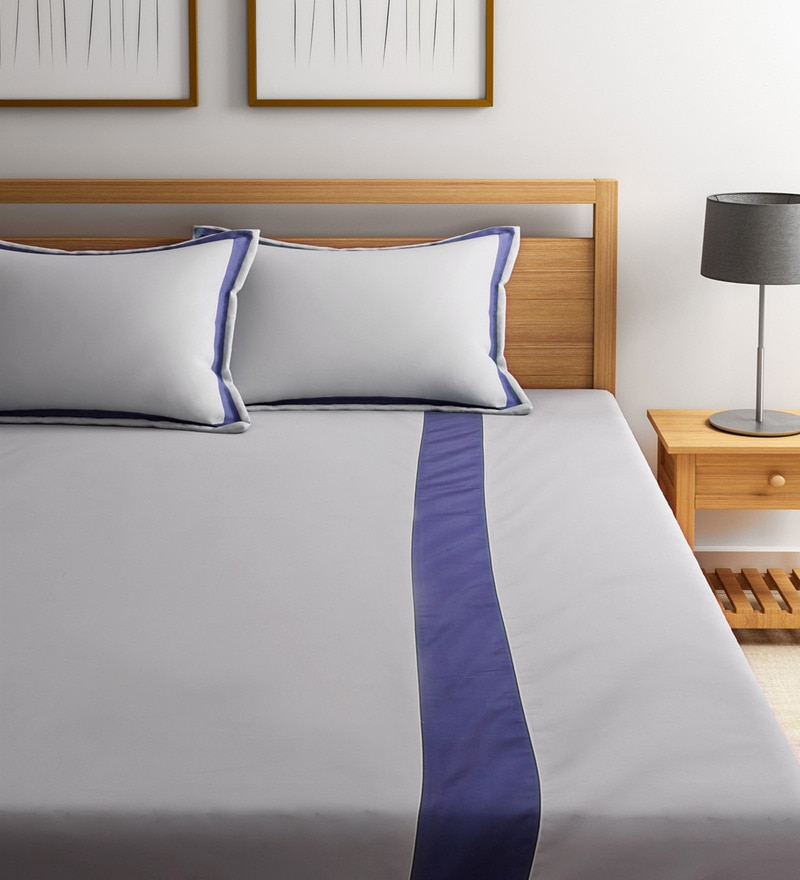 White and Blue Cotton Blend Easy Care Double Flange Bedsheet Set by Fisher West NY