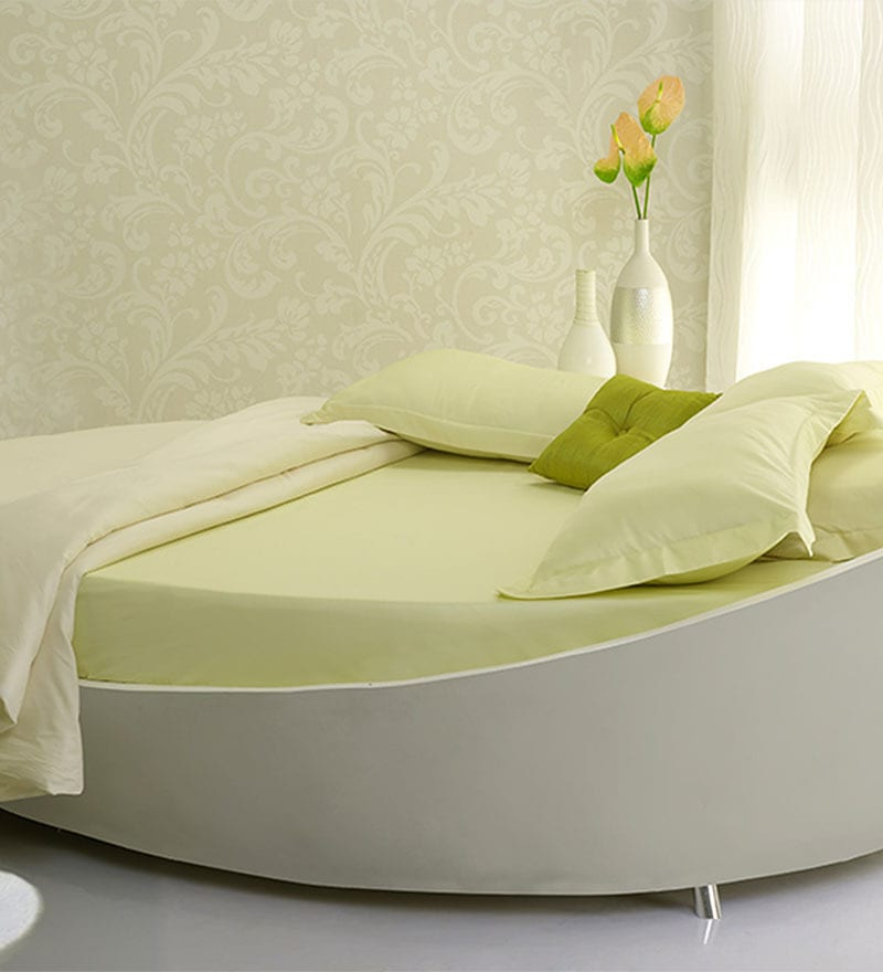 Lime Yellow Poly Cotton King Bed Sheet (with Pillow Covers) - Set of 5 by Fisher West NY