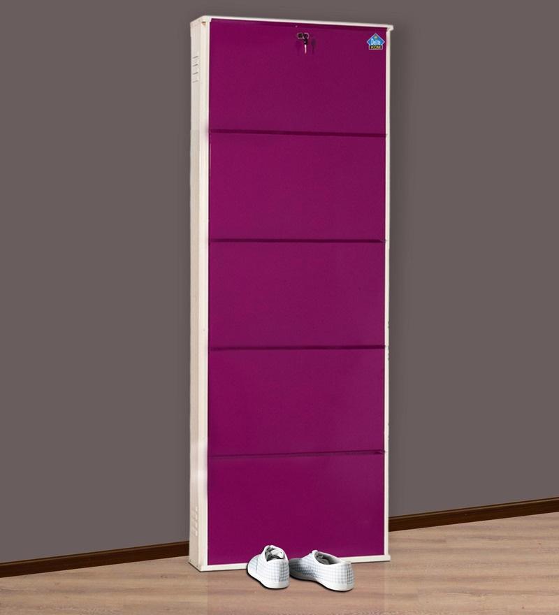 Five Door Powder Coated Metallic Shoe Rack in Violet Colour By DELITE KOM
