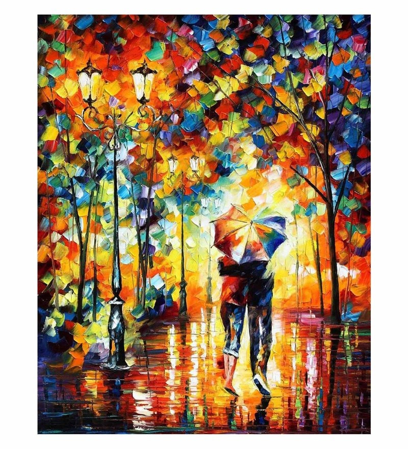 Canvas 30 x 36 Inch Under One Umbrella Unframed Handpainted Art Painting by Fizdi Art Store