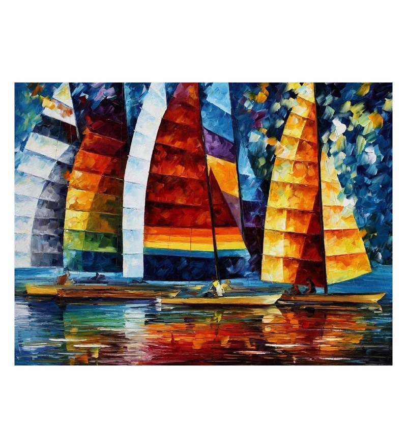 Canvas 40 x 30 Inch Sea Regatta Unframed Handpainted Art Painting by Fizdi Art Store