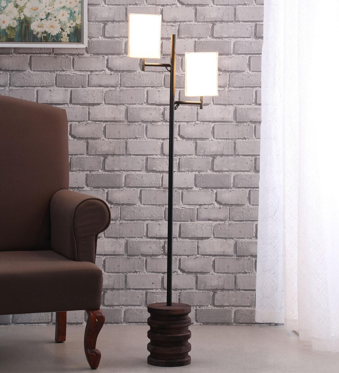 Buy Silvia White Fabric Shade Floor Lamp With Brown Base Casacraft By Pepperfry Online Modern And Contemporary Floor Lamps Floor Lamps Lamps Lighting Pepperfry Product