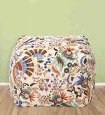 Floral Design Large Pouffe in Multicolour