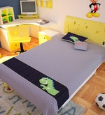 Blue Cotton Dinosaur 90 x 60 Inch Quilt Set (with Pillow and Cushion)
