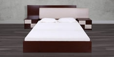 Florida Queen Bed with Hydraulic Storage in Walnut & Cream Colour