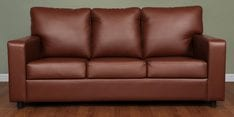 Fluer Three Seater Sofa in Brown Leatherette