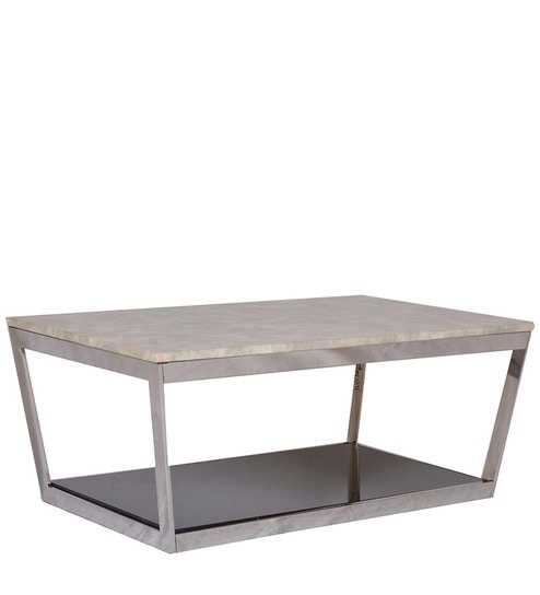 Fleat Marble Center Table In Black N White Colour By HomeTown