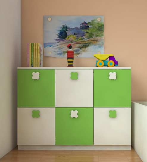 Fl Kids Storage Cabinet In Ivory Green Finish By Adona