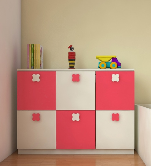 Fl Kids Storage Cabinet In Strawberry Pink Finish By Adona Online Cabinets Furniture Pepperfry Product