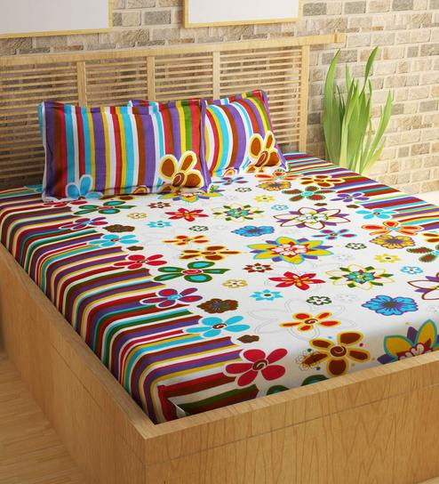 Floral Pattern 120TC Cotton Queen Size Bed Sheet With 2 Pillow Covers By  Story@Home