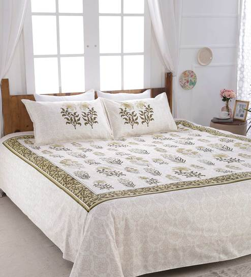 Buy Floral Pattern 300 Tc Cotton King Size Bed Sheet With 2 Pillow