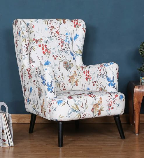 Buy Florencia Wing Chair In Floral Design By Casacraft