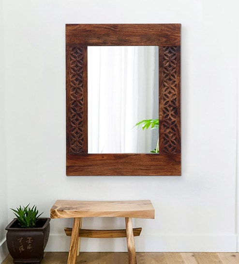 Carved Teak Magic Wardrobe.Florito Rectangular Wall Mirror With Carved Solid Wood Frame In Provincial Teak Finish By Woodsworth