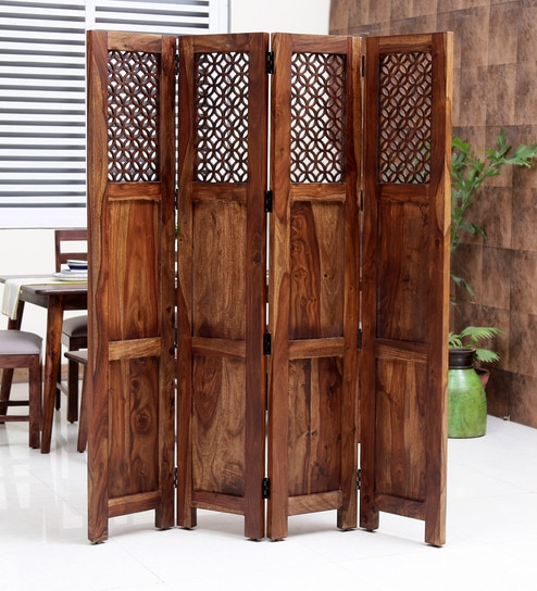 Magnificent Florito Solid Wood 4 Panel Room Divider In Provincial Teak Finish By Woodsworth Download Free Architecture Designs Scobabritishbridgeorg