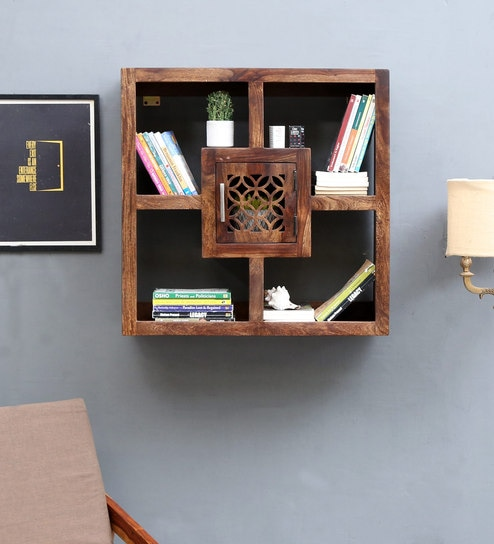 Florito Solid Wood Boxy Wall Shelf In Provincial Teak Finish By Woodsworth