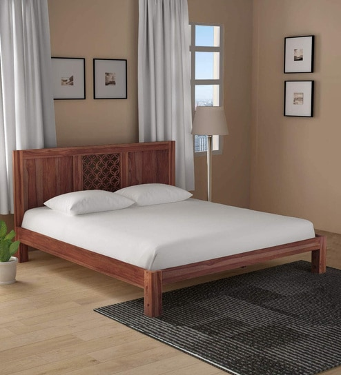 Buy Florito Solid Wood King Size Bed In Provincial Teak Finish By