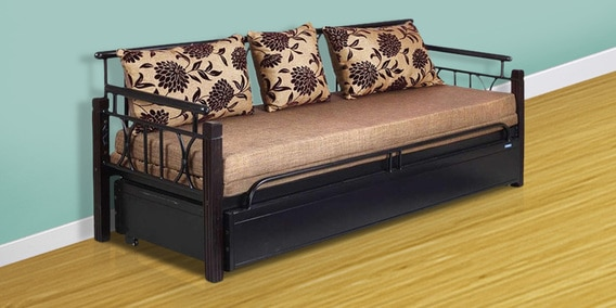 Buy Flint Metallic Frame Sofa Cum Bed in Black Colour by Nilkamal