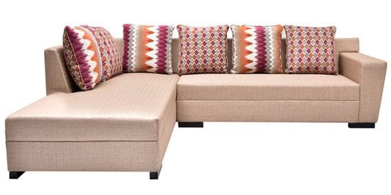 Florida L Shaped Sofa In Cream Colour By Flora Decor