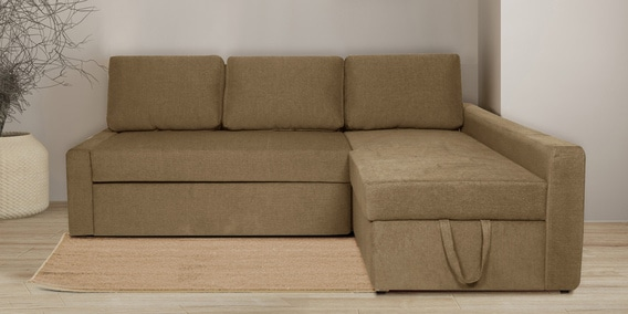 Flumph LHS L Shape Sofa Cum Bed with Storage in Beige Colour by Vittoria