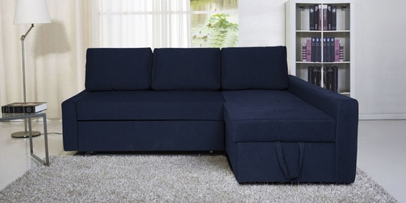 Flumph Lhs L Shape Sofa Bed With Storage In Sea Blue Color By Vittoria