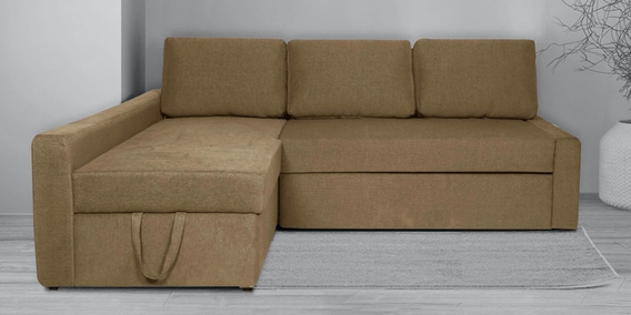 Flumph Rhs L Shaped Sofa Bed, Beige Sofa Bed With Storage