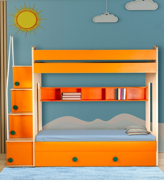 Buy Flexi Bunk Bed With Trundle In Orange By Yipi Online Trundle Bunk Beds Bunk Beds Kids Furniture Pepperfry Product
