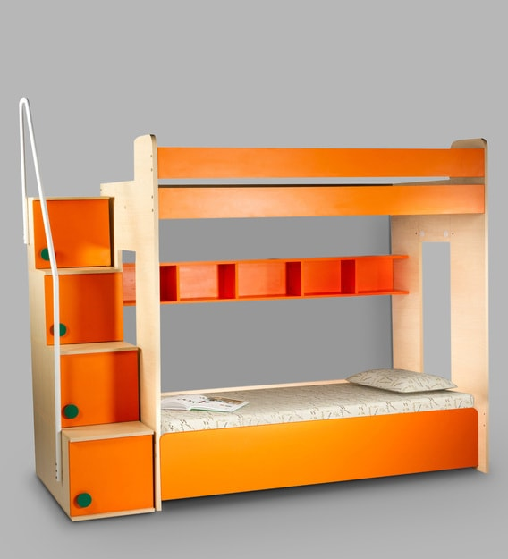 Buy Trundle Bunk Bed with Hydraulic Storage in Orange by Yipi Online -  Trundle Bunk Beds - Bunk Beds - Kids Furniture - Pepperfry Product