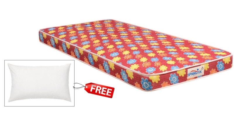 Flora Single Size (78 x 35) 4 Inches Thick Back Support Eco Mattress (FREE Pillow) by Springtek Ortho Coir