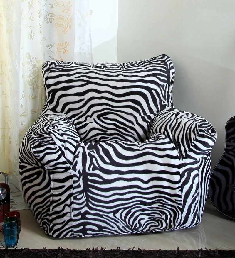 Floral Spanio XXXL Filled Bean Bag in Black & White Color Color Color by SGS Industries