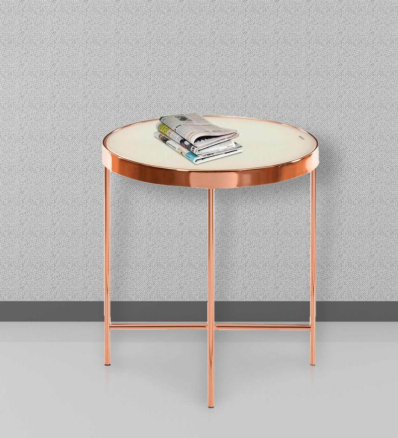 Floris End Table in White with Copper Colour by @Home