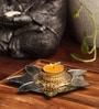 Candles N Beyond Golden Flower Tea Light Holder