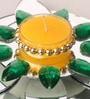 Candles N Beyond Green Flower Tea Light Holder